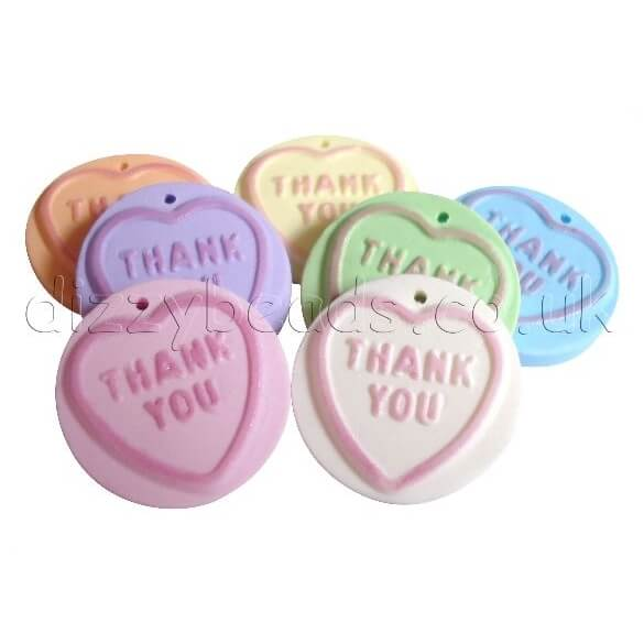 Fimo Loveheart Sweet Beads Thank You Dizzy Beads Uk
